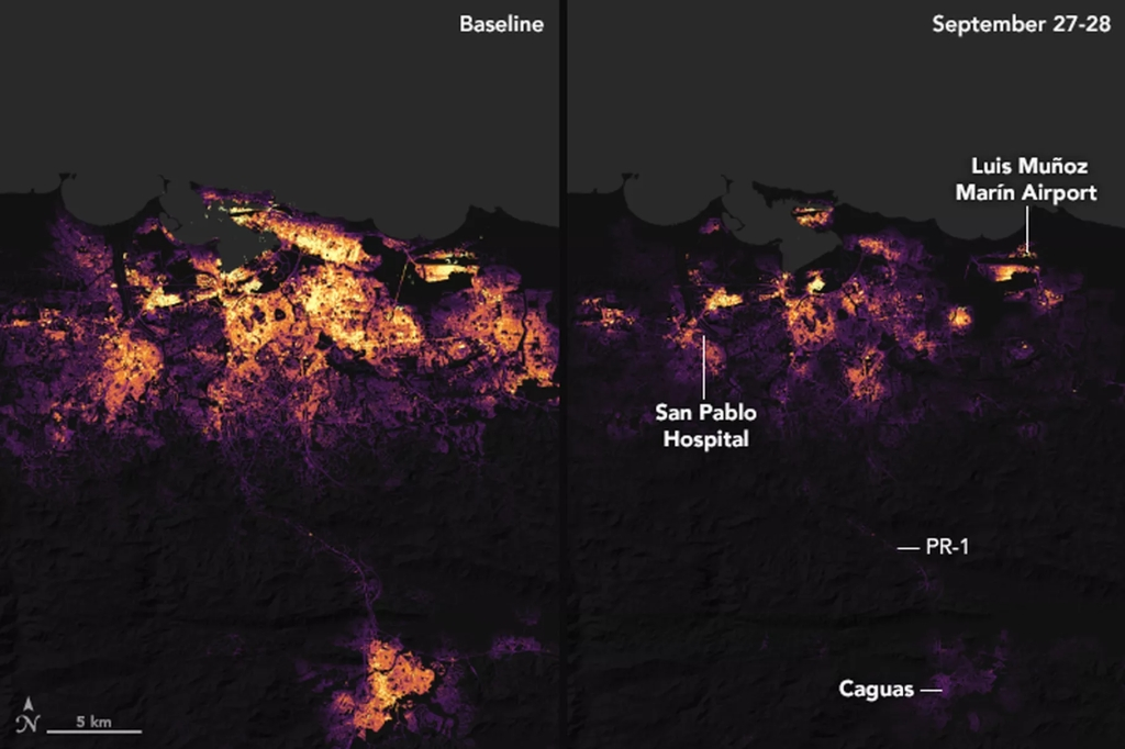 NASA, Puerto Rico, Energy, Light, Map, Space