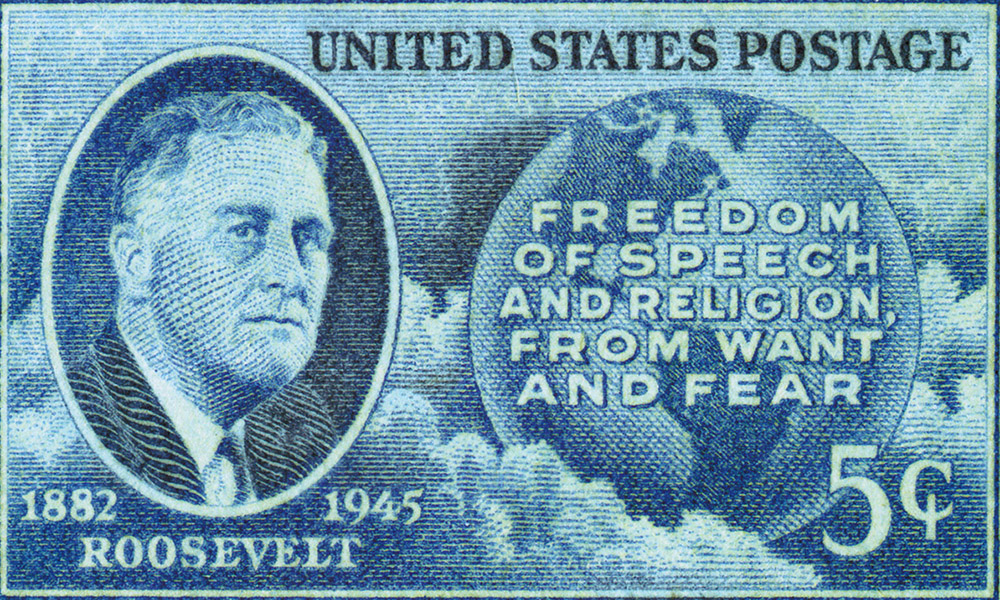 Roosevelt, FDR, Four Freedoms, Freedom of Speech, Freedom of Religion, Freedom from Want, Freedom from Fear, World War II, Japanese Internment, United Nations Charter, Franklin Delano Roosevelt, Eleanor Roosevelt