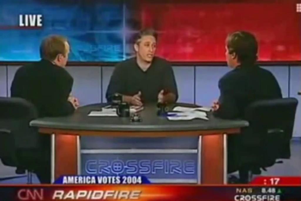 Jon Stewart, Crossfire, Media, Critique, CNN, Liberal, Conservative, Media, Fake News, Journalism, Pat Buchanan, Thomas Braden, Tucker Carlson, Paul Begala