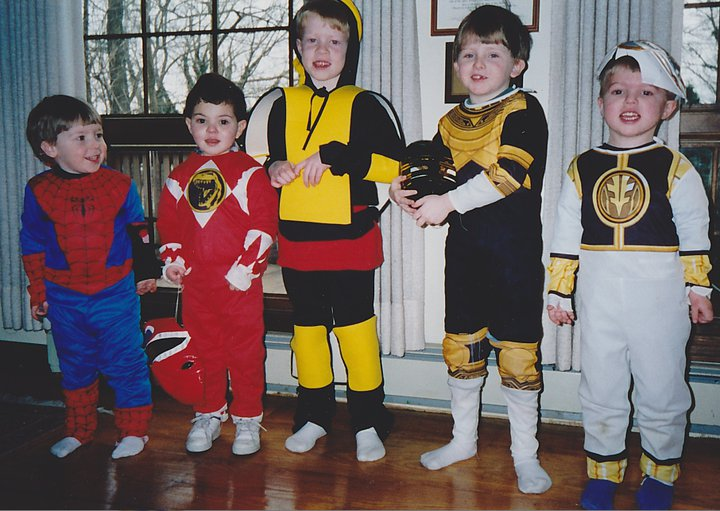 1990s, 90s, power rangers, childhood photos, spideman, ninjas, costumes, halloween