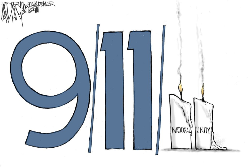 september 11th, 9/11, 2001, twin towers, collapse, national unity, political cartoons, Iraq, Afghanistan, George W Bush