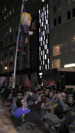 Trump, Not my President, effigy, hanging, hung, protests, election, 2016, Trump Tower, outrage, left, russia, interference, facebook, organizers